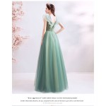 Fashionble Floor-length Green Prom Dress Handmade Flowers Lotus Leaf Neckline Lace-up Bridesmai Dress New Arrival
