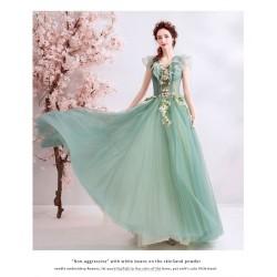 Fashionble Floor length Green Prom Dress Handmade Flowers Lotus Leaf Neckline Lace up Bridesmai Dress