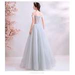 A-line Floor-length Grey Evening Dress Off The Shoulder Fashion Handmade Flowers Lace-up Bridesmaid Dress With Beading New Arrival