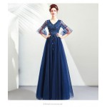 A-line Floor-length V-neck Pagoda Sleeve Prom Dress With Appliques/Sequines New Arrival