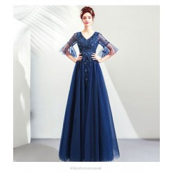 A-line Floor-length V-neck Pagoda Sleeve Prom Dress With Appliques/Sequines