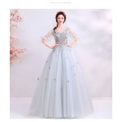 Romantic Floor-length V-neck Lace-up Handmade Flowers Prom Dress With Beading