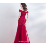 Fashionable Off The Shoulder Red Fish Tail Bride Evening Dress With Sequines/Lace New Arrival