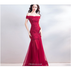Fashionable Off The Shoulder Red Fish Tail Bride Evening Dress With Sequines Lace