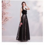 A-line Floor-length Queen Anne Embroidery Black Velvet Tulle Evening Dress New Arrival