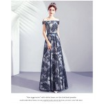 Classic Floor-length Ink Painting Blue Off The Shoulder Lace-up Prom/Evening Dress New Arrival