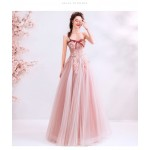 Romantic Floor-length pink Bridesmaid Dress Strapless Exquisite Embroidery Lace-up Prom Dress With Beading New Arrival