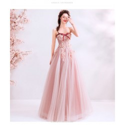 Romantic Floor-length pink Bridesmaid Dress Strapless Exquisite Embroidery Lace-up Prom Dress With Beading