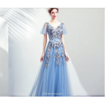 Brilliant Floor-length Haze Blue Bridesmaid Dress V-neck Embroidery Floral Lace-up Party Dress With Sequines New Arrival