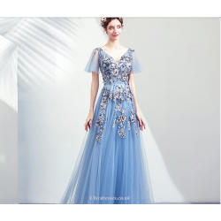 Brilliant Floor Length Haze Blue Bridesmaid Dress V Neck Embroidery Floral Lace Up Party Dress With Sequines