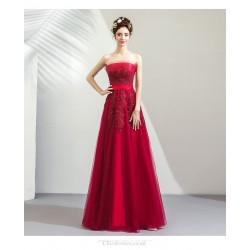 Romantic Floor-length Red Engagement Dress Strapless Exquisite Embroidery Lace-up Evening Dress With Bowknot