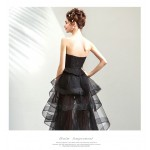 Fashion Sexy Front Short Rear length Sweetheart Black Organza Evening Dress With Sequines/Embroidery New Arrival