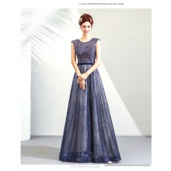 A-line Floor-length Blue Bridesmaid Dress Sequined Sparkle & Shine Lace-up Prom Dress With Sequines