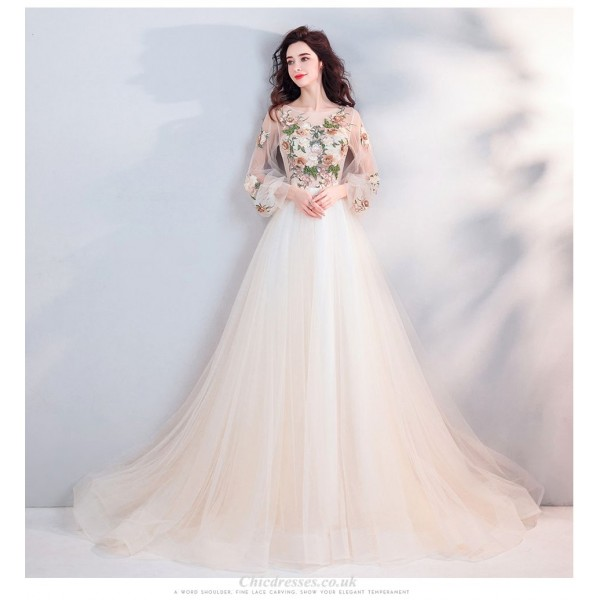 Elegant Sweep/Brush Train Long Sleeves Champagne Evening Dress With Appliques/Beads New Arrival