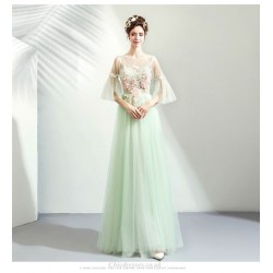Elegant Floor-length Light Green Bridesmaid Dress Illusion-neck Lace-up Exquisite Embroidery Evening Dress
