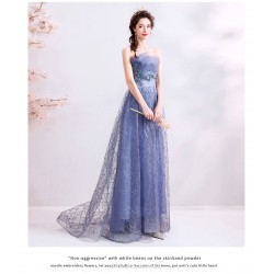 Dazzling A-line Blue Organza Bridesmaid Dress Sequined Sparkle & Shine Lace-up Exquisite Embroidery Prom Dress With Sequines