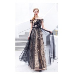 A-line Floor-length Sequined Sparkle & Shine Black Bridesmaid Dress Off The Shoulder Lace-up Prom Dress With Sequines/Appliques