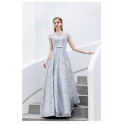 Elegant and Noble Floor-length A-line Sequines Sparkle & Shine Grey Organza Evening/Bridesmaid Dress
