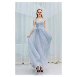 Elegant Floor-length V-neck Lace-up Grey Tulle Evening Dress With Appliques