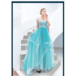 Fashion Trailing Blue Bridesmaid Dress Spaghetti Straps Lace Up V Neck Prom Dress With White Round Button