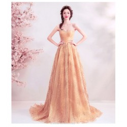 Brilliant Sweep/Train  Brush Golden Prom Dress Sequined Sparkle & Shine Strapless Lace-up Evening Dress With Sequines