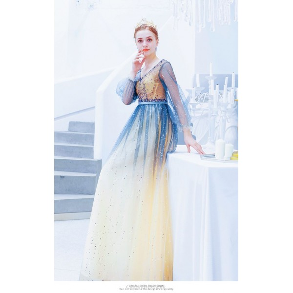Fashion Floor-length V-neck Blue Tulle Bridesmaid Dress Sequined Sparkle & Shine Long Sleeves Lace-up Prom Dress New Arrival