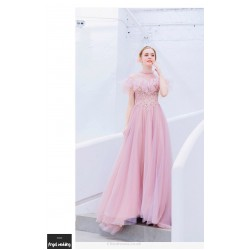 Romantic Floor Length Cherry Pink Bridesmaid Dress Fashion Standing Collar Invisible Zipper Prom Dress With Sequines Appliques