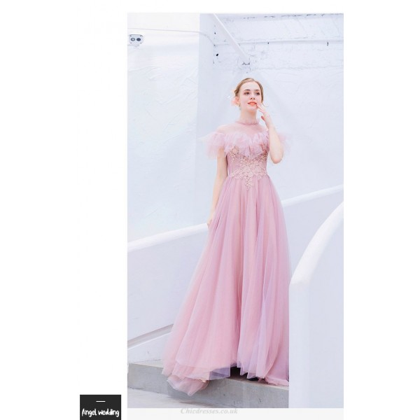 Romantic Floor-length Cherry Pink Bridesmaid Dress Fashion Standing Collar Invisible Zipper Prom Dress With Sequines/Appliques New Arrival