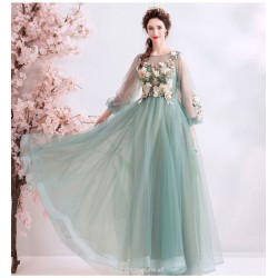 Fashion Floor length Green Organza Bridesmaid Dress Embroidery Floral Lace up Puff Sleeve Prom Dress With Beading