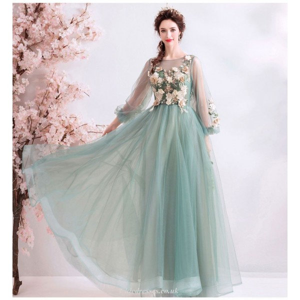 Fashion Floor-length Green Organza Bridesmaid Dress Embroidery Floral Lace-up Puff Sleeve Prom Dress With Beading New Arrival
