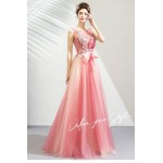Glamorous Floor-length Cherry Pink Tulle Bridesmaid Dress Illusion-neck Lace-up Evening Dress With Appliques/Sequines/Bowknot New Arrival