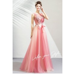 Glamorous Floor-length Cherry Pink Tulle Bridesmaid Dress Illusion-neck Lace-up Evening Dress With Appliques/Sequines/Bowknot