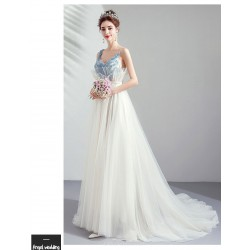Elegant Sweep Train Brush White Evening Dress Dream Sling Handmade Flowers Prom Dress With Sequines
