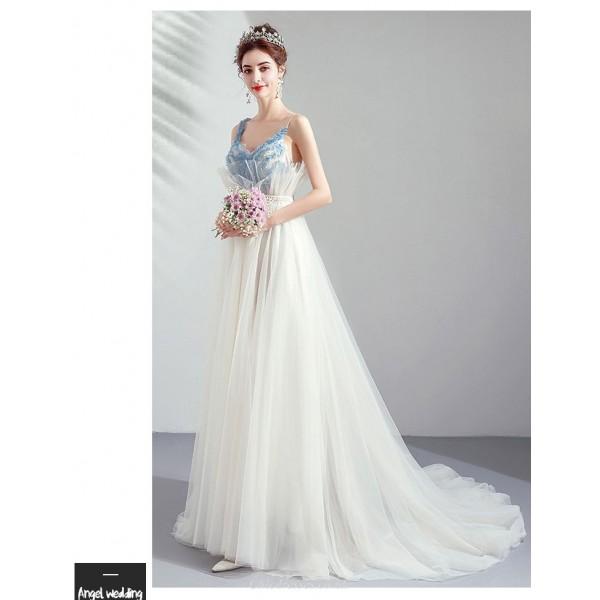 Elegant Sweep/Train Brush White Evening Dress Dream Sling Handmade Flowers Prom Dress With Sequines New Arrival