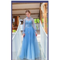 Glamorous Floor Length Long Sleeves Fashion Stand Collar Blue Prom Evening Dress