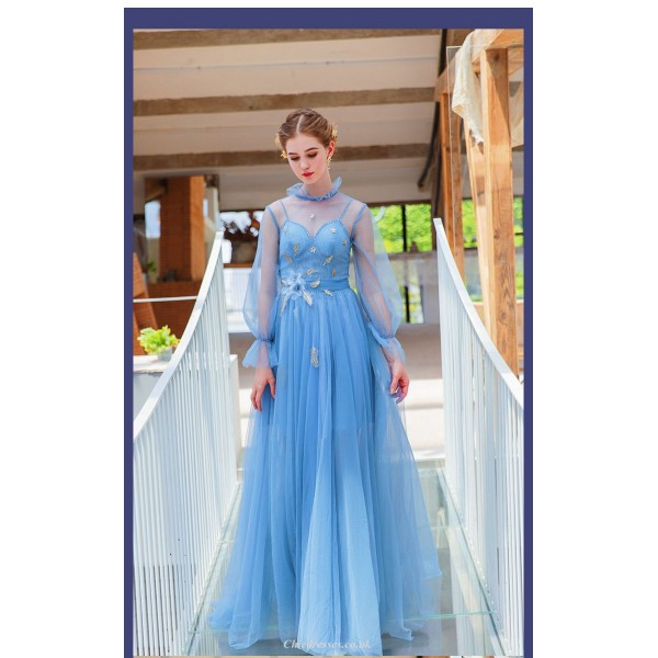 Glamorous Floor-length Long Sleeves Fashion Stand Collar Blue Prom/Evening Dress New Arrival