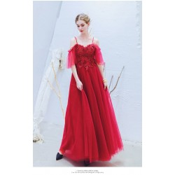 Modern and Fashionable Spaghetti Straps Lace up Red Prom Evening Dress With Sequines Appliques