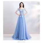 A-line Exquisite Embroidery Blue Prom Dress Off The Shoulder Lace-up Fashion Half Sleeves Bridesmaid Dress With Sequines/Beading New Arrival