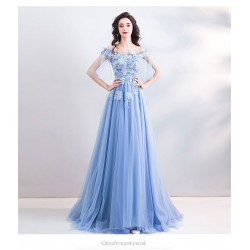 A-line Exquisite Embroidery Blue Prom Dress Off The Shoulder Lace-up Fashion Half Sleeves Bridesmaid Dress With Sequines/Beading