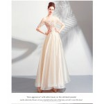 Elegant Floor-length Light Champagne Tulle Bridesmaid Dress Illusion-neck Lace-up Exquisite Embroidery Evening Dress New Arrival