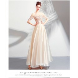 Elegant Floor-length Light Champagne Tulle Bridesmaid Dress Illusion-neck Lace-up Exquisite Embroidery Evening Dress