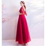 Glamorous A-line Floor-length Lace-up Fashion Sleeves Prom Dress With Beading New Arrival
