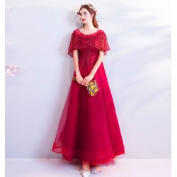 Glamorous A-line Floor-length Lace-up Fashion Sleeves Prom Dress With Beading