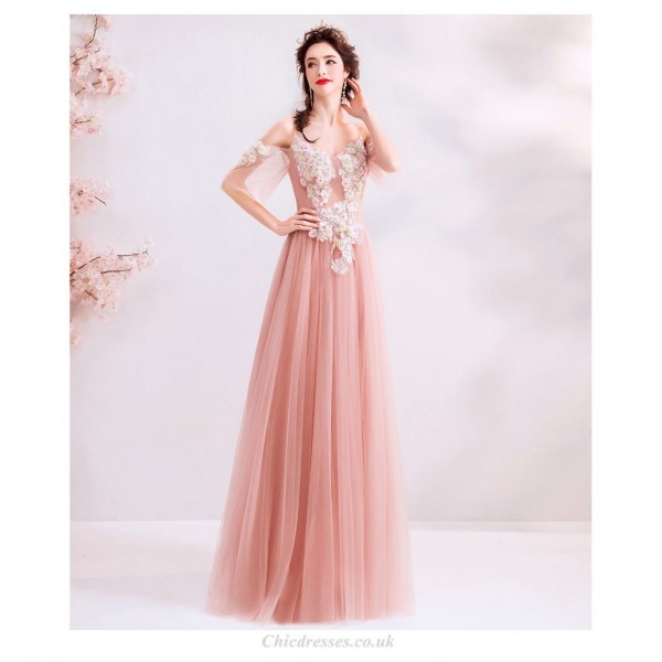 Romantic Floor-length Bean Paste Pink Bridesmaid Dress Spaghetti Straps V-neck Lace-up Exquisite Embroidery Evening Dress With Sequines New Arrival