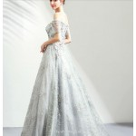 Classic Floor-length Grey Bridesmaid Dress Exquisite Embroidery Off The Shoulder Prom Dress With Sequines New Arrival