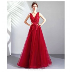 Allure A-line Floor-length V-neck Lace-up Red Exquisite Embroidery Prom Dress