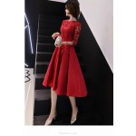 A-line Medium-length Red Satin Lace Prom Dress With Sleeves Lace Crew Neck Zipper Back Eveing Dress New Arrival