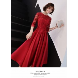 A Line Medium Length Red Satin Lace Prom Dress With Sleeves Lace Crew Neck Zipper Back Eveing Dress