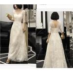 Elegant Floor-length White Lace Evening Dress V-neck Half Sleeves Zipper Back Prom Dress New Arrival