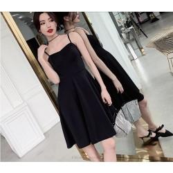 Sexy Knee Length Spaghetti Straps Zipper Back Black Chiffon Evening Dress